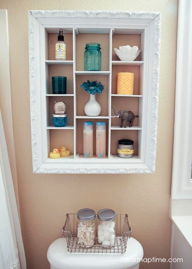DIY Ideas With Old Picture Frames - Bathroom Shelf Makeover - Cool Crafts To Make With A Repurposed Picture Frame - Cheap Do It Yourself Gifts and Home Decor on A Budget - Fun Ideas for Decorating Your House and Room http://diyjoy.com/diy-ideas-picture-frames