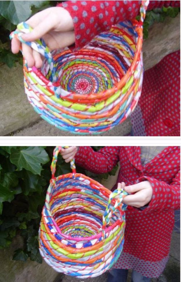 DIY Ideas With Plastic Bags - Beautiful Baskets From Plastic Bags - How To Make Fun Upcycling Ideas and Crafts - Awesome Storage Projects Using Recycling - Coolest Craft Projects, Life Hacks and Ways To Upcycle a Plastic Bag #recycling #upcycling #crafts #diyideas