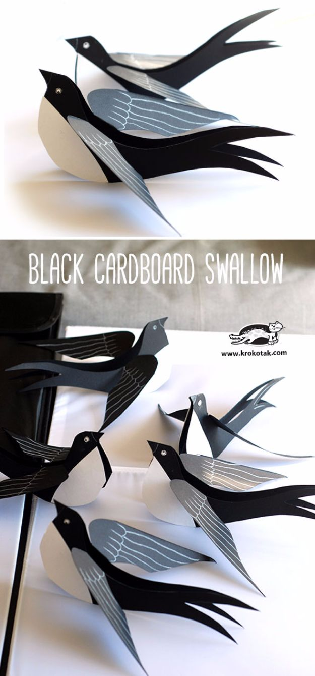 DIY Ideas With Cardboard - Black Cardboard Swallow - How To Make Room Decor Crafts for Kids - Easy and Crafty Storage Ideas For Room - Toilet Paper Roll Projects Tutorials - Fun Furniture Ideas with Cardboard - Cheap, Quick and Easy Wall Decorations http://diyjoy.com/diy-ideas-cardboard
