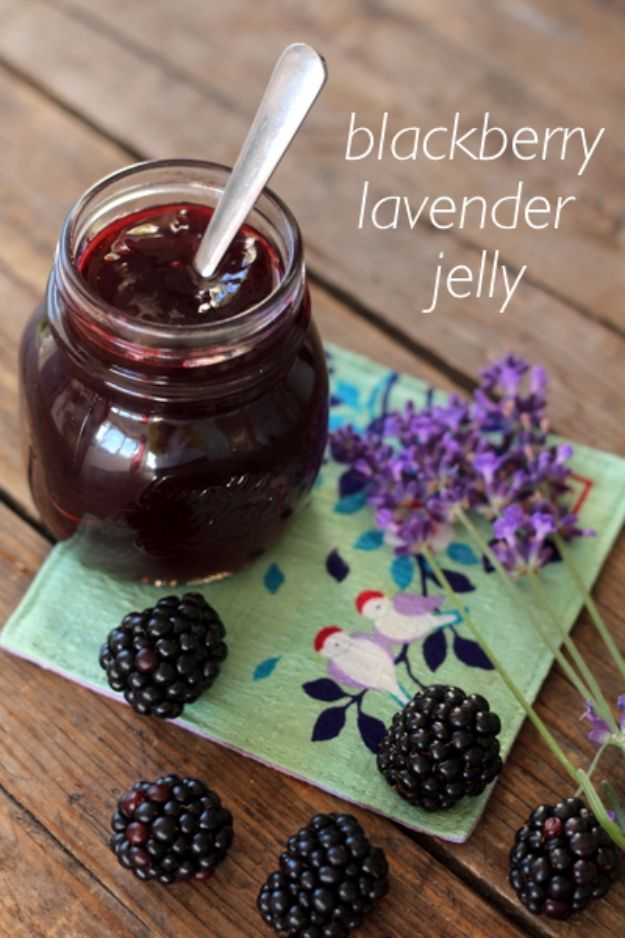 Best Jam and Jelly Recipes - Blackberry Lavender Jelly - Homemade Recipe Ideas For Canning - Easy and Unique Jams and Jellies Made With Strawberry, Raspberry, Blackberry, Peach and Fruit - Healthy, Sugar Free, No Pectin, Small Batch, Savory and Freezer Recipes http://diyjoy.com/jam-jelly-recipes