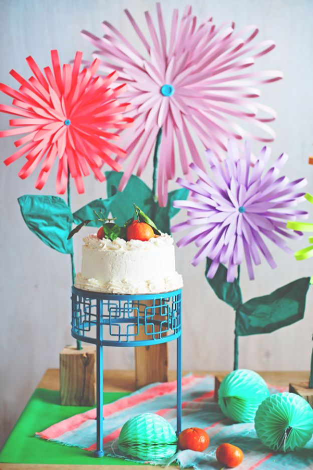 DIY Paper Flowers - Bright And Beautiful Paper Flowers - How To Make A Paper Flower - Large Wedding Backdrop for Wall Decor - Easy Tissue Paper Flower Tutorial for Kids - Giant Projects for Photo Backdrops - Daisy, Roses, Bouquets, Centerpieces - Cricut Template and Step by Step Tutorial