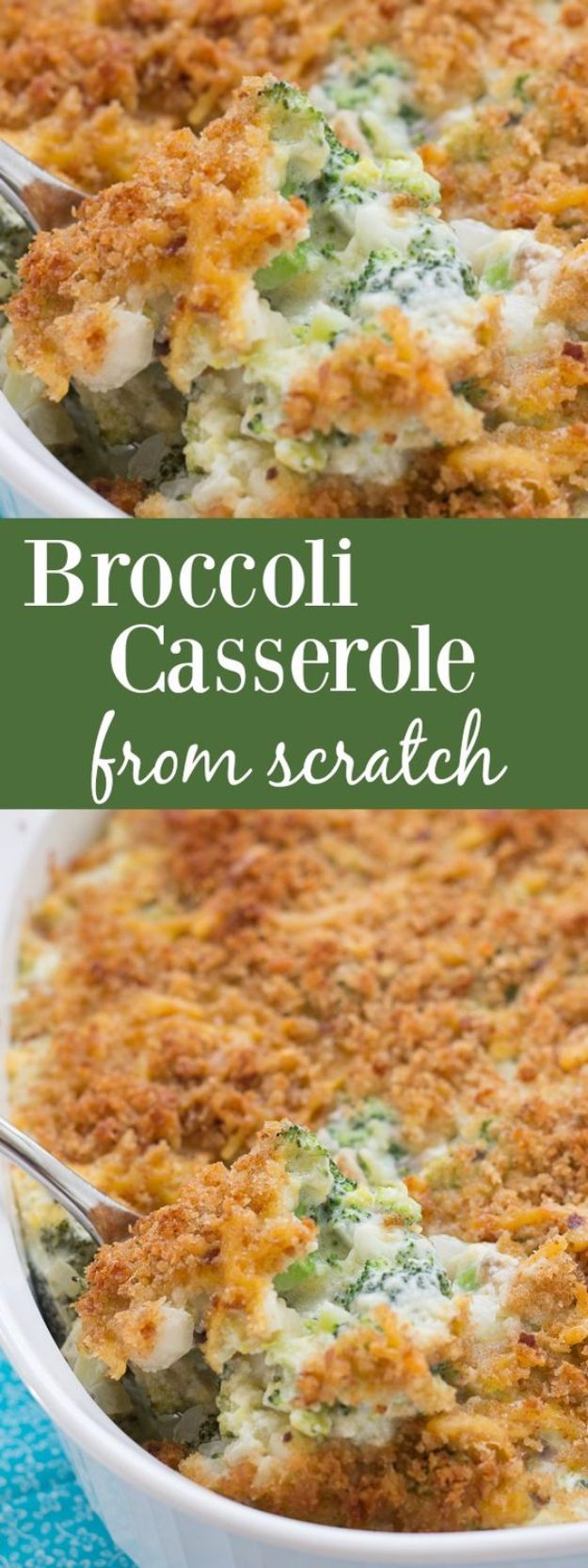 Healthy Thanksgiving Recipes - Broccoli Casserole - Low fat Versions of Your Favorite Holiday Recipe for Turkey, Stuffing, Gravy, Pie and Desserts, Appetizers, Vegetables and Side Dishes like Spinach, Broccoli, Cranberries, Mashed Potatoes, Sweet Potatoes and Green Beans - Easy and Quick Last Minute Thanksgiving Recipes for Low Carb, Low Fat and Clean Eating Diets http://diyjoy.com/healthy-thanksgiving-recipes