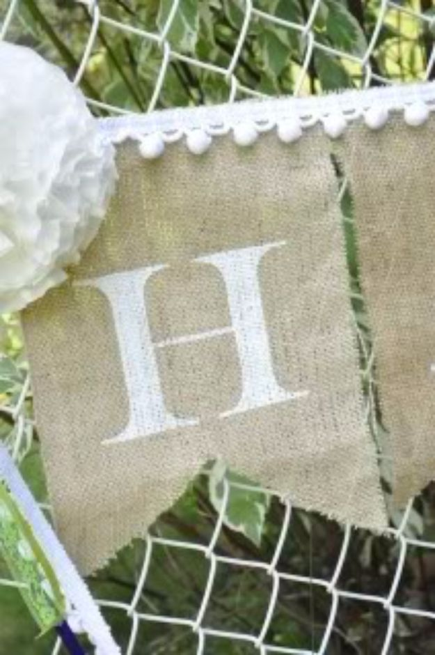 DIY Wedding Decor - Burlap And Paper Wedding Banners - Easy and Cheap Project Ideas with Things Found in Dollar Stores - Simple and Creative Backdrops for Receptions On A Budget - Rustic, Elegant, and Vintage Paper Ideas for Centerpieces, and Vases http://diyjoy.com/cheap-wedding-decor-ideas