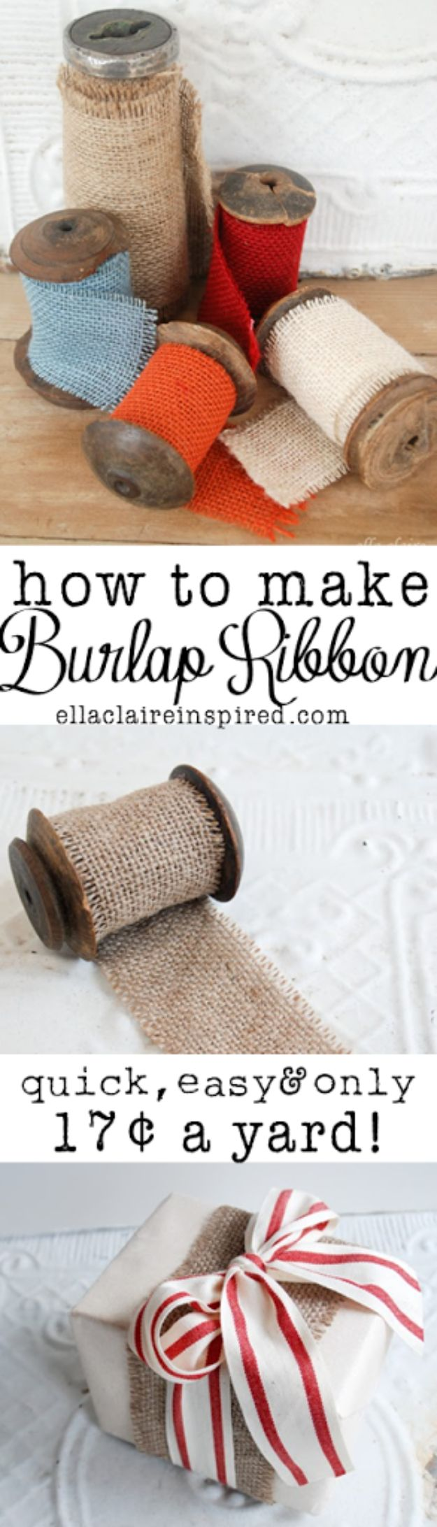 Cool Gift Wrapping Ideas - Burlap Ribbon - Creative Ways To Wrap Presents on A Budget - Best Christmas Gift Wrap Ideas - How To Make Gift Bags, Reuse Wrapping Paper, Make Bows and Tags - Cute and Easy Ideas for Wrapping Gifts for the Holidays - Step by Step Instructions and Photo Tutorials