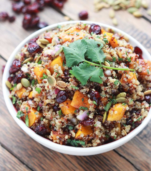 Best Fall Recipes and Ideas for Dinner - Butternut Squash And Cranberry Quinoa Salad - Quick Meals With Chicken, Beef and Fish, Easy Crockpot Meals and Make Ahead Soups and Dinners - Healthy Dinner Recipes and Fast Last Minute Foods With Spinach, Vegetables, Butternut Squash, Pumpkin and Nuts