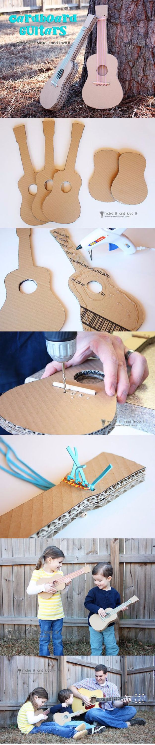 DIY Ideas With Cardboard - Cardboard Guitars - How To Make Room Decor Crafts for Kids - Easy and Crafty Storage Ideas For Room - Toilet Paper Roll Projects Tutorials - Fun Furniture Ideas with Cardboard - Cheap, Quick and Easy Wall Decorations http://diyjoy.com/diy-ideas-cardboard