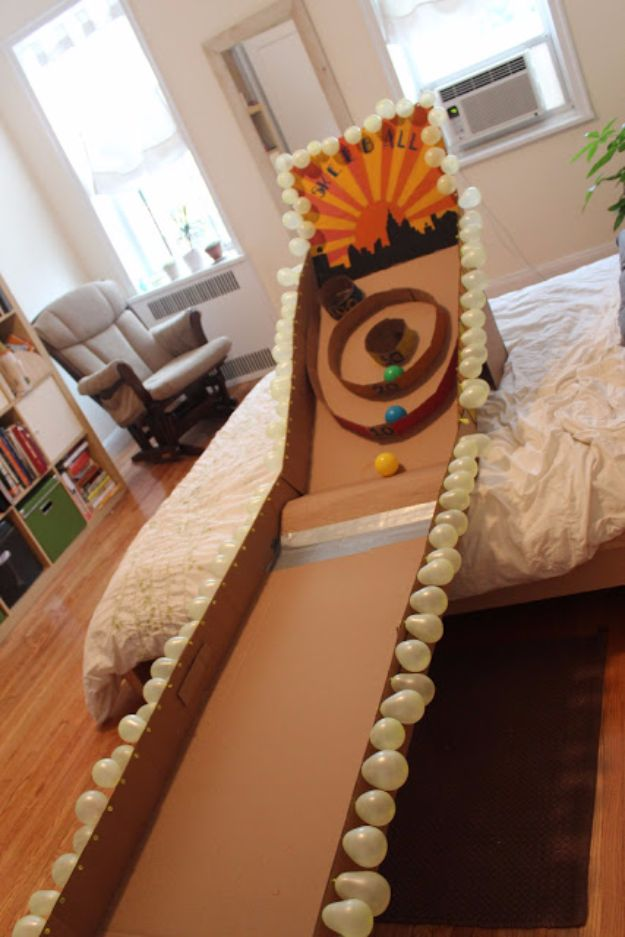 DIY Ideas With Cardboard - Cardboard Skeeball - How To Make Room Decor Crafts for Kids - Easy and Crafty Storage Ideas For Room - Toilet Paper Roll Projects Tutorials - Fun Furniture Ideas with Cardboard - Cheap, Quick and Easy Wall Decorations http://diyjoy.com/diy-ideas-cardboard