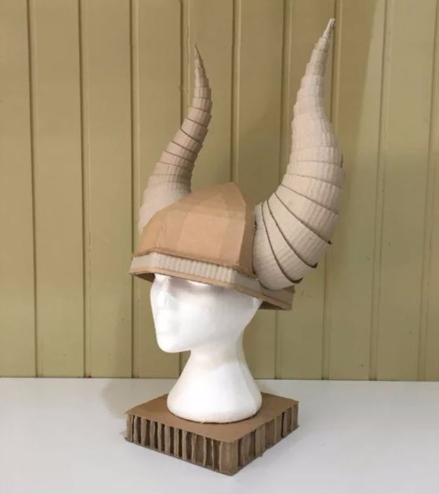 DIY Ideas With Cardboard - Cardboard Viking Helmet With Horns - How To Make Room Decor Crafts for Kids - Easy and Crafty Storage Ideas For Room - Toilet Paper Roll Projects Tutorials - Fun Furniture Ideas with Cardboard - Cheap, Quick and Easy Wall Decorations http://diyjoy.com/diy-ideas-cardboard