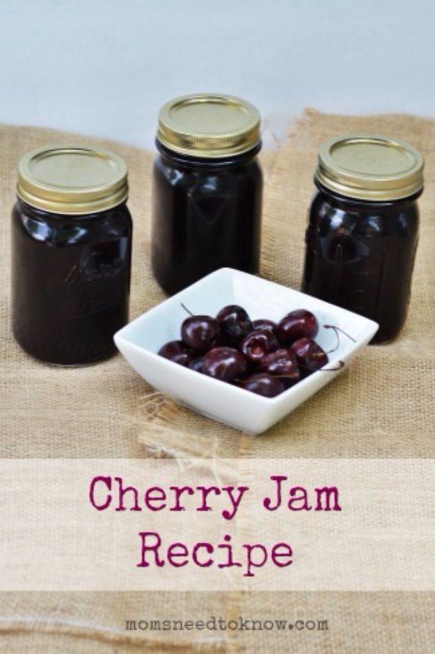 Best Jam and Jelly Recipes - Cherry Jam - Homemade Recipe Ideas For Canning - Easy and Unique Jams and Jellies Made With Strawberry, Raspberry, Blackberry, Peach and Fruit - Healthy, Sugar Free, No Pectin, Small Batch, Savory and Freezer Recipes http://diyjoy.com/jam-jelly-recipes
