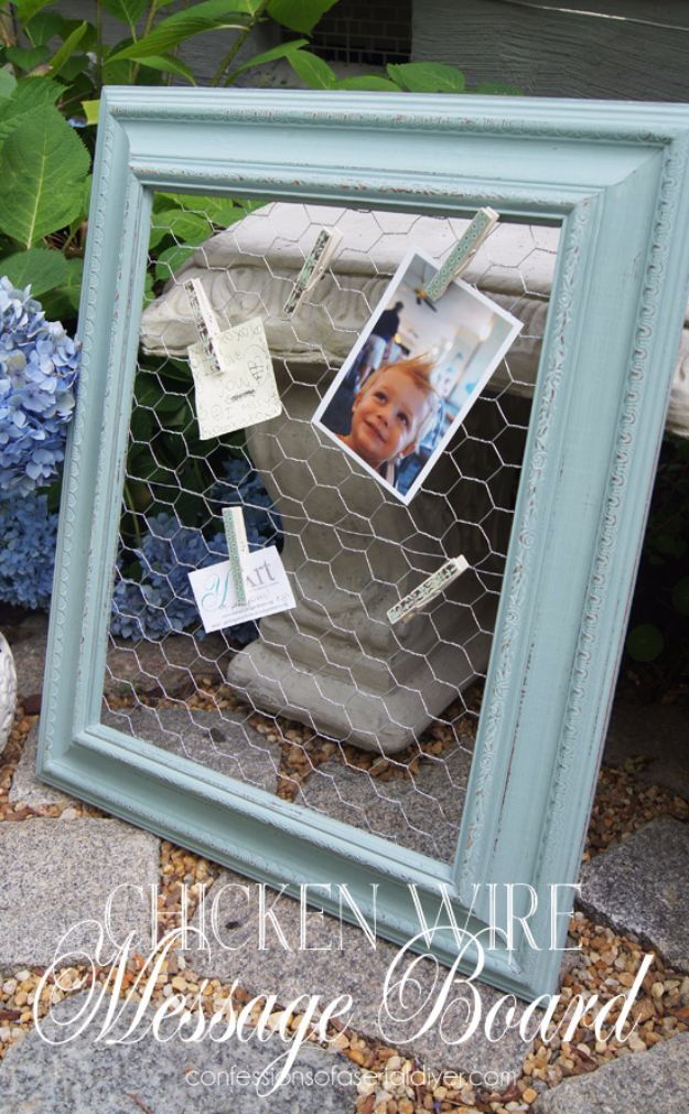 DIY Ideas With Old Picture Frames - Chicken Wire Message Board - Cool Crafts To Make With A Repurposed Picture Frame - Cheap Do It Yourself Gifts and Home Decor on A Budget - Fun Ideas for Decorating Your House and Room http://diyjoy.com/diy-ideas-picture-frames