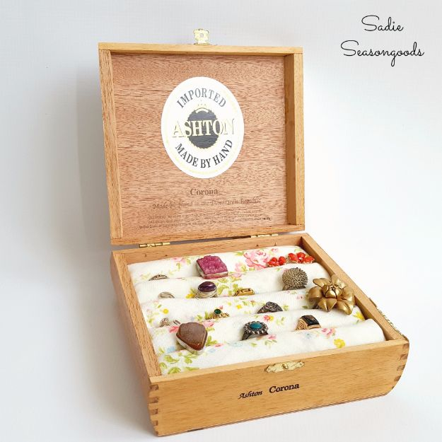 DIY Jewelry Ideas - Cigar Box Ring Holder - How To Make the Coolest Jewelry Ideas For Kids and Teens - Homemade Wooden and Plastic Jewelry Box Plans - Easy Cardboard Gift Ideas - Cheap Wall Makeover and Organizer Projects With Drawers Men http://diyjoy.com/diy-jewelry-boxes-storage