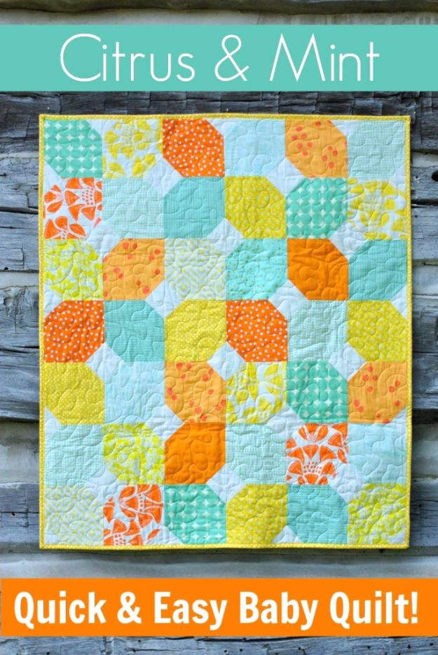 Best Quilts to Make This Weekend - Citrus & Mint Baby Quilt - Free Quilt Patterns and Quilting Tutorials - Quilting for Beginners and Sewing Ideas - DIY Baby Quilts, Printables, New and Easy Modern Quilts, Jelly Roll, Quilt Squares, Fat Quarters and Scrap Ideas #diy #quilting #sewing