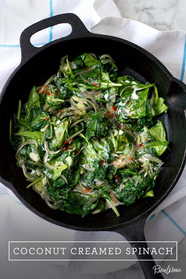 Best Thanksgiving Side Dishes - Coconut Creamed Spinach - Easy Make Ahead and Crockpot Versions of the Best Thanksgiving Recipes #thanksgiving #recipes