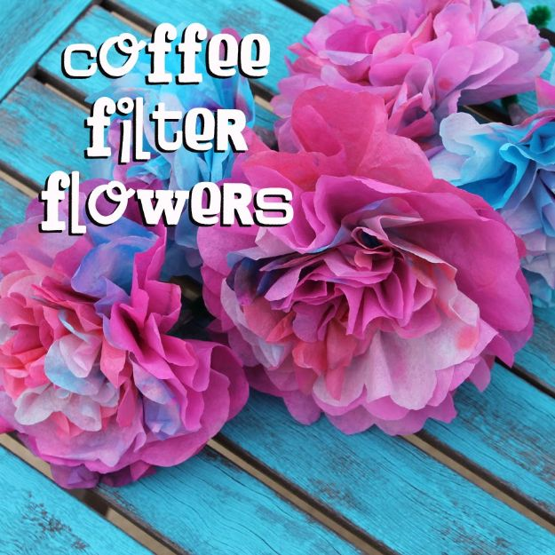 DIY Paper Flowers - Coffee Filter Flowers - How To Make A Paper Flower - Large Wedding Backdrop for Wall Decor - Easy Tissue Paper Flower Tutorial for Kids - Giant Projects for Photo Backdrops - Daisy, Roses, Bouquets, Centerpieces - Cricut Template and Step by Step Tutorial http://diyjoy.com/diy-paper-flowers