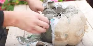 She Pours Concrete Into A Pumpkin Mold And Makes The Coolest Pumpkins For Her Porch!
