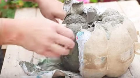 She Pours Concrete Into A Pumpkin Mold And Makes The Coolest Pumpkins For Her Porch! | DIY Joy Projects and Crafts Ideas