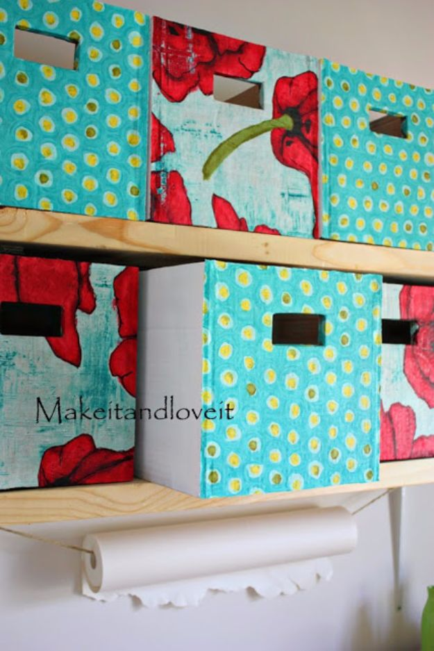 DIY Ideas With Cardboard - Covered Cardboard Storage Boxes - How To Make Room Decor Crafts for Kids - Easy and Crafty Storage Ideas For Room - Toilet Paper Roll Projects Tutorials - Fun Furniture Ideas with Cardboard - Cheap, Quick and Easy Wall Decorations http://diyjoy.com/diy-ideas-cardboard