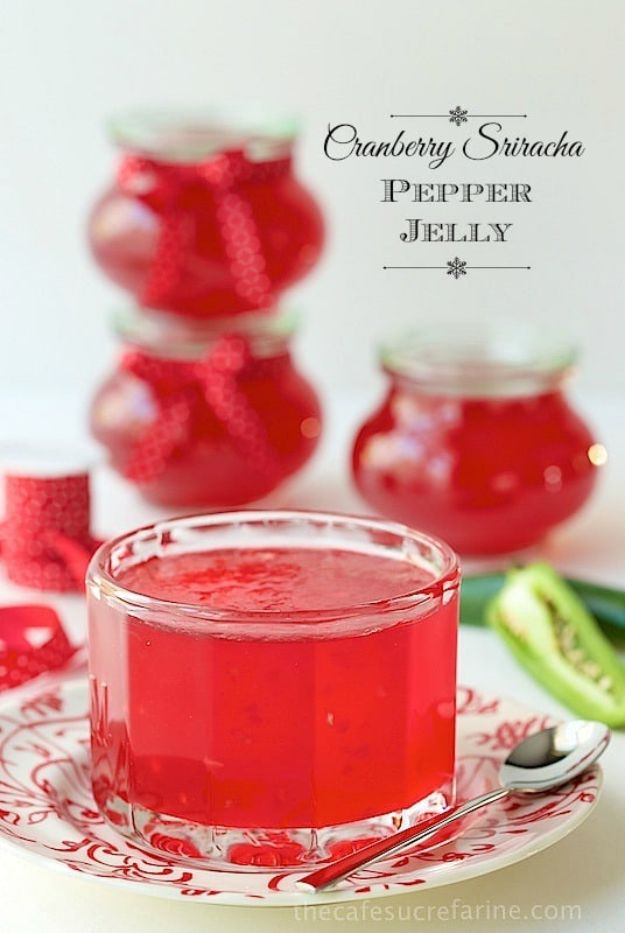 Best Jam and Jelly Recipes - Cranberry Sriracha Pepper Jelly - Homemade Recipe Ideas For Canning - Easy and Unique Jams and Jellies Made With Strawberry, Raspberry, Blackberry, Peach and Fruit - Healthy, Sugar Free, No Pectin, Small Batch, Savory and Freezer Recipes http://diyjoy.com/jam-jelly-recipes