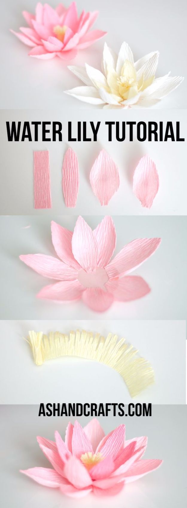 DIY Paper Flowers - Crepe Paper Water Lily - How To Make A Paper Flower - Large Wedding Backdrop for Wall Decor - Easy Tissue Paper Flower Tutorial for Kids - Giant Projects for Photo Backdrops - Daisy, Roses, Bouquets, Centerpieces - Cricut Template and Step by Step Tutorial http://diyjoy.com/diy-paper-flowers