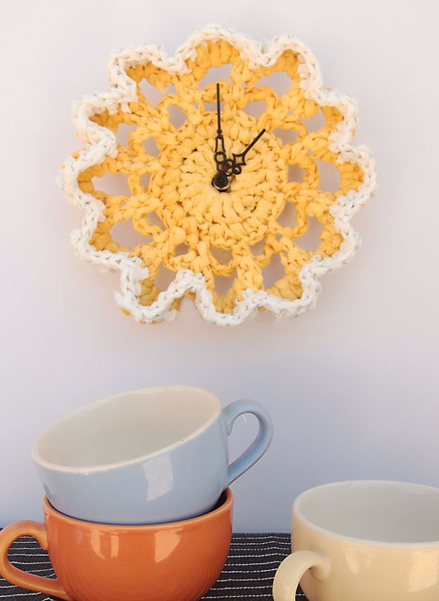 DIY Ideas With Plastic Bags - Crocheted Plastic Bag Doily Clock - How To Make Fun Upcycling Ideas and Crafts - Awesome Storage Projects Using Recycling - Coolest Craft Projects, Life Hacks and Ways To Upcycle a Plastic Bag #recycling #upcycling #crafts #diyideas
