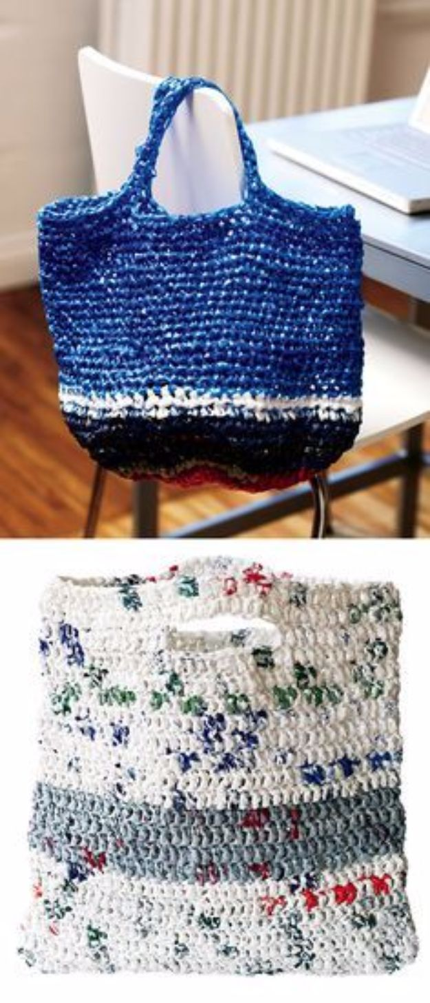 DIY Ideas With Plastic Bags - Crocheted Tote Plastic Bags - How To Make Fun Upcycling Ideas and Crafts - Awesome Storage Projects Using Recycling - Coolest Craft Projects, Life Hacks and Ways To Upcycle a Plastic Bag #recycling #upcycling #crafts #diyideas