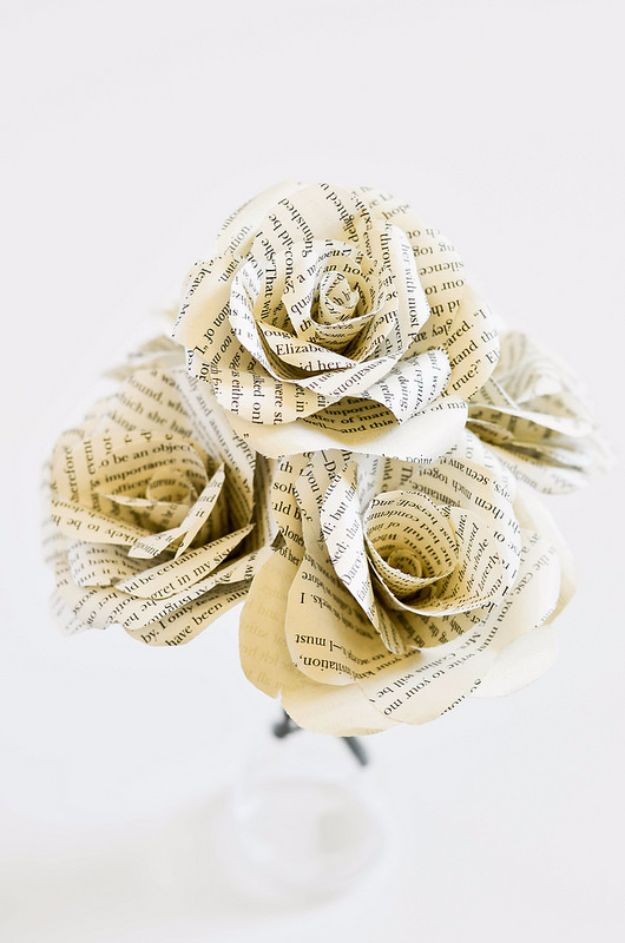 DIY Wedding Decor - DIY Book Flowers - Easy and Cheap Project Ideas with Things Found in Dollar Stores - Simple and Creative Backdrops for Receptions On A Budget - Rustic, Elegant, and Vintage Paper Ideas for Centerpieces, and Vases