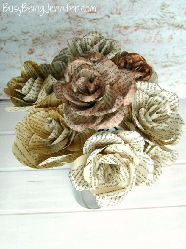 DIY Paper Flowers - DIY Book Page Flowers - How To Make A Paper Flower - Large Wedding Backdrop for Wall Decor - Easy Tissue Paper Flower Tutorial for Kids - Giant Projects for Photo Backdrops - Daisy, Roses, Bouquets, Centerpieces - Cricut Template and Step by Step Tutorial http://diyjoy.com/diy-paper-flowers
