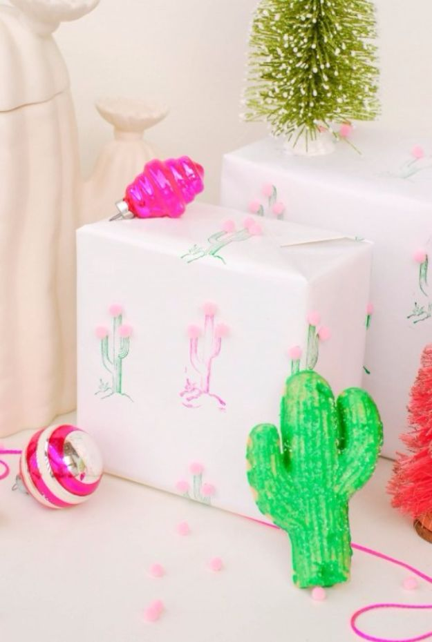 Cool Gift Wrapping Ideas - DIY Cactus Pom Pom Gift Wrap - Creative Ways To Wrap Presents on A Budget - Best Christmas Gift Wrap Ideas - How To Make Gift Bags, Reuse Wrapping Paper, Make Bows and Tags - Cute and Easy Ideas for Wrapping Gifts for the Holidays - Step by Step Instructions and Photo Tutorials