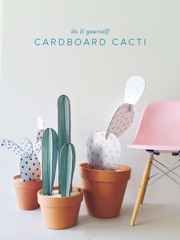 DIY Ideas With Cardboard - DIY Cardboard Cacti - How To Make Room Decor Crafts for Kids - Easy and Crafty Storage Ideas For Room - Toilet Paper Roll Projects Tutorials - Fun Furniture Ideas with Cardboard - Cheap, Quick and Easy Wall Decorations