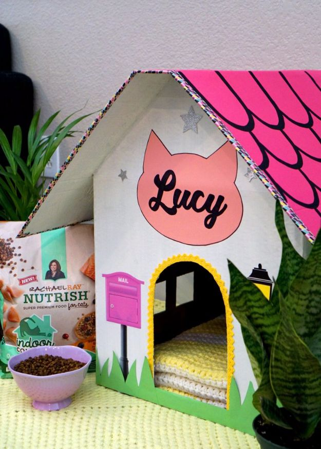 DIY Ideas With Cardboard - DIY Cardboard Cat House - How To Make Room Decor Crafts for Kids - Easy and Crafty Storage Ideas For Room - Toilet Paper Roll Projects Tutorials - Fun Furniture Ideas with Cardboard - Cheap, Quick and Easy Wall Decorations http://diyjoy.com/diy-ideas-cardboard