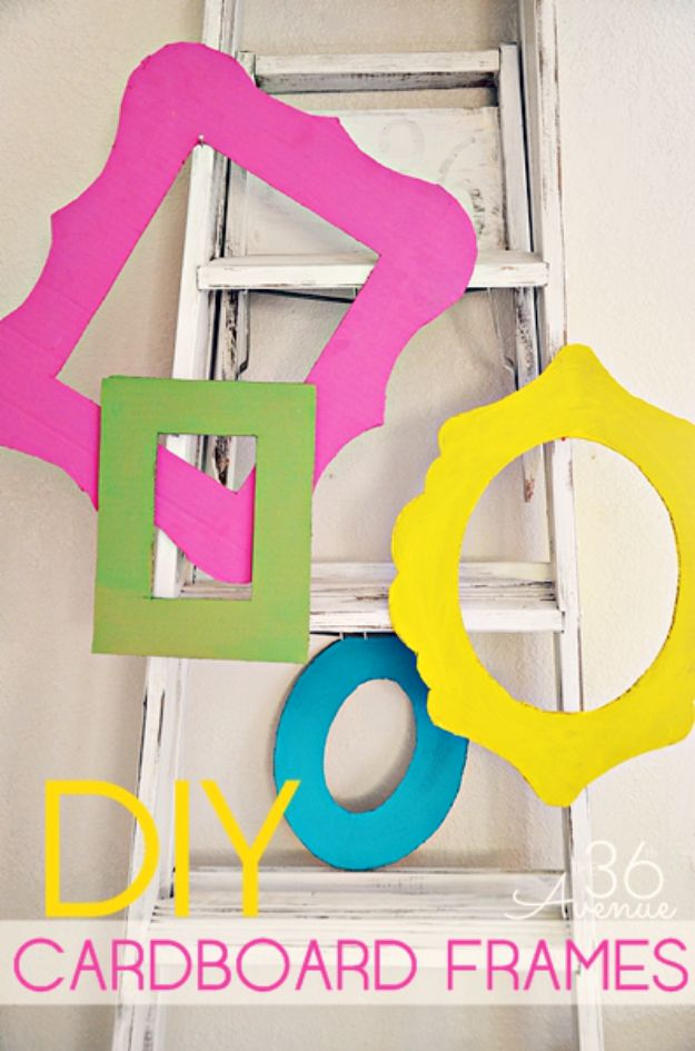 DIY Ideas With Cardboard - DIY Cardboard Frames - How To Make Room Decor Crafts for Kids - Easy and Crafty Storage Ideas For Room - Toilet Paper Roll Projects Tutorials - Fun Furniture Ideas with Cardboard - Cheap, Quick and Easy Wall Decorations http://diyjoy.com/diy-ideas-cardboard