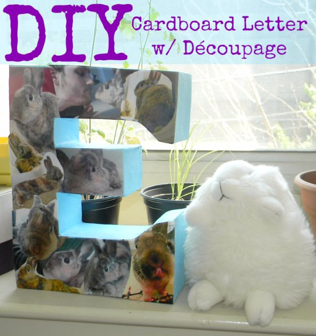 DIY Ideas With Cardboard - DIY Cardboard Letter with Découpage - How To Make Room Decor Crafts for Kids - Easy and Crafty Storage Ideas For Room - Toilet Paper Roll Projects Tutorials - Fun Furniture Ideas with Cardboard - Cheap, Quick and Easy Wall Decorations http://diyjoy.com/diy-ideas-cardboard