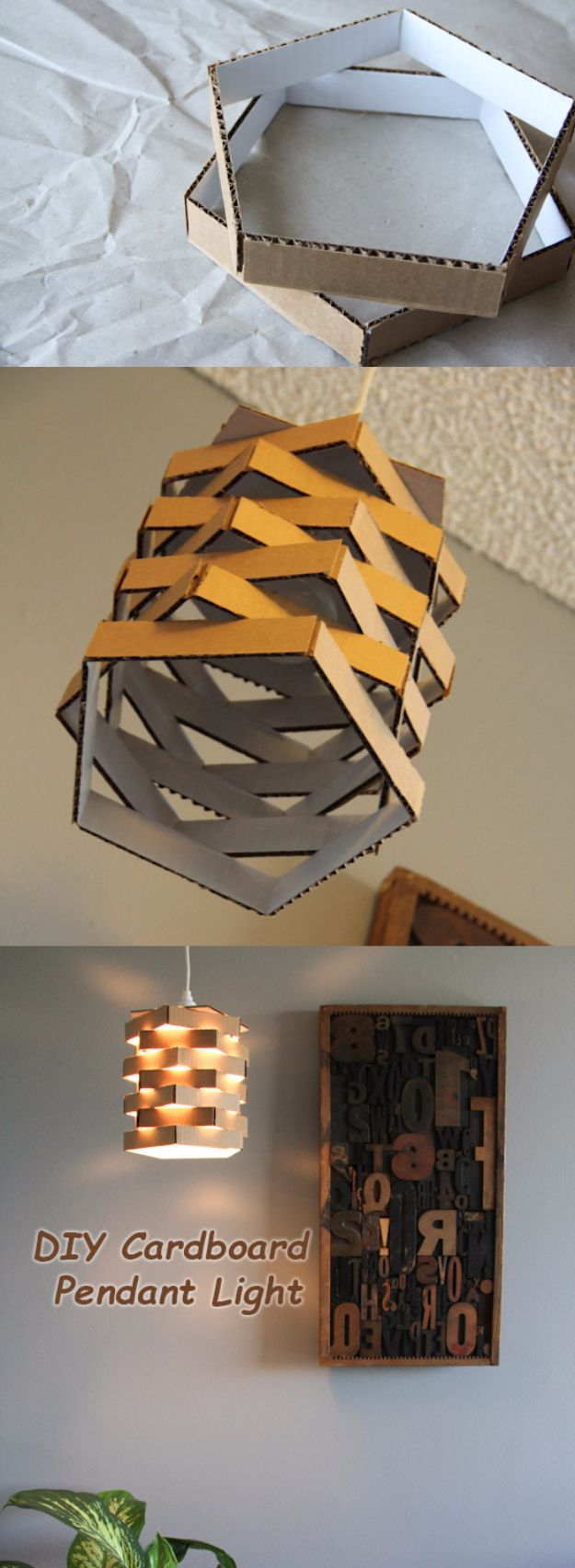 DIY Ideas With Cardboard - DIY Cardboard Pendant Light - How To Make Room Decor Crafts for Kids - Easy and Crafty Storage Ideas For Room - Toilet Paper Roll Projects Tutorials - Fun Furniture Ideas with Cardboard - Cheap, Quick and Easy Wall Decorations http://diyjoy.com/diy-ideas-cardboard