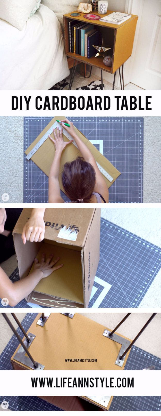 DIY Ideas With Cardboard - DIY Cardboard Table - How To Make Room Decor Crafts for Kids - Easy and Crafty Storage Ideas For Room - Toilet Paper Roll Projects Tutorials - Fun Furniture Ideas with Cardboard - Cheap, Quick and Easy Wall Decorations http://diyjoy.com/diy-ideas-cardboard