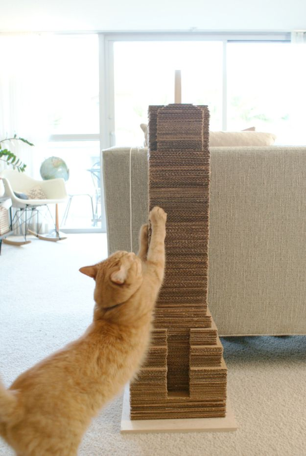 DIY Ideas With Cardboard - DIY Cat Scratching Post - How To Make Room Decor Crafts for Kids - Easy and Crafty Storage Ideas For Room - Toilet Paper Roll Projects Tutorials - Fun Furniture Ideas with Cardboard - Cheap, Quick and Easy Wall Decorations #diyideas #cardboardcrafts #crafts
