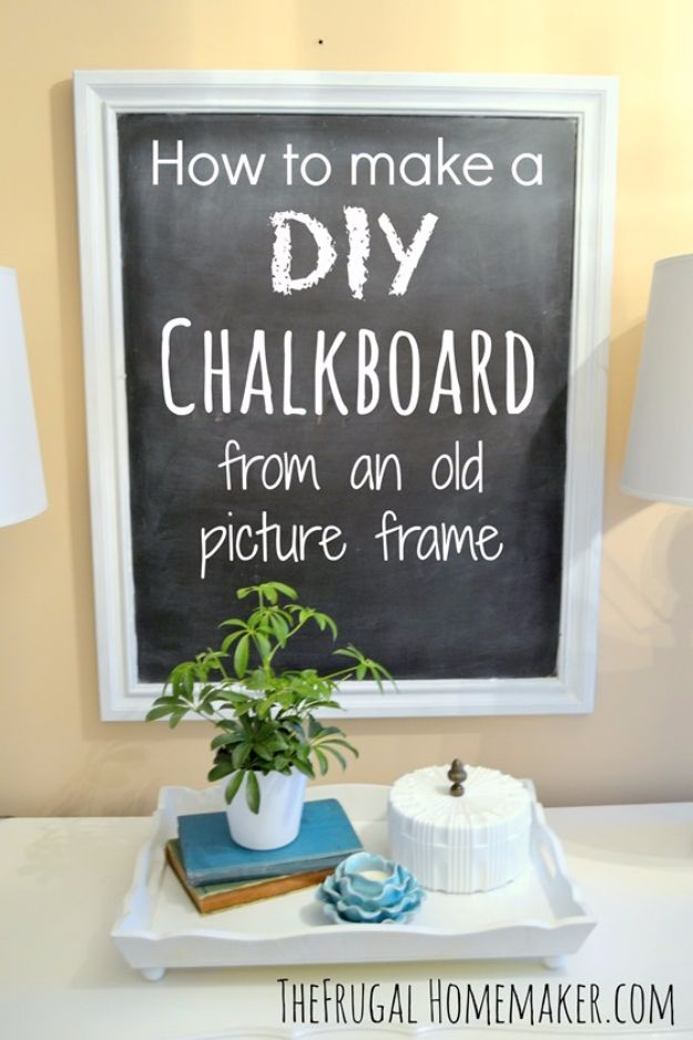 DIY Ideas With Old Picture Frames - DIY Chalkboard From An Old Picture Frame - Cool Crafts To Make With A Repurposed Picture Frame - Cheap Do It Yourself Gifts and Home Decor on A Budget - Fun Ideas for Decorating Your House and Room http://diyjoy.com/diy-ideas-picture-frames