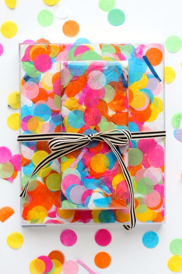 Cool Gift Wrapping Ideas - DIY Confetti Gift Wrap - Creative Ways To Wrap Presents on A Budget - Best Christmas Gift Wrap Ideas - How To Make Gift Bags, Reuse Wrapping Paper, Make Bows and Tags - Cute and Easy Ideas for Wrapping Gifts for the Holidays - Step by Step Instructions and Photo Tutorials