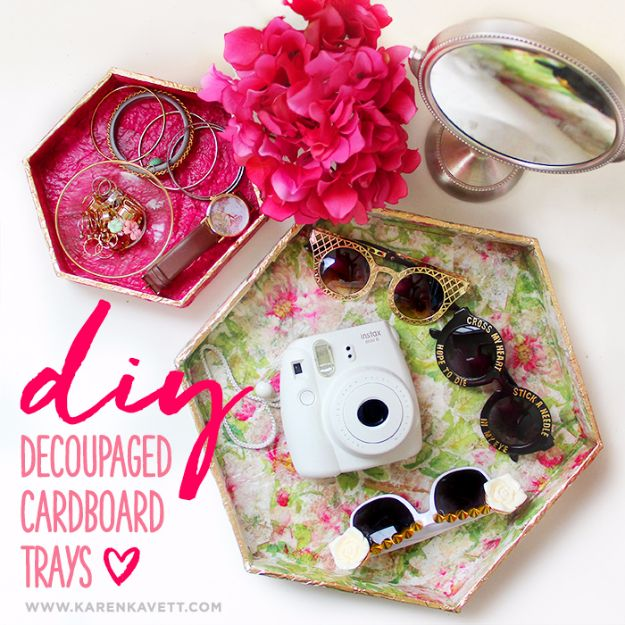DIY Ideas With Cardboard - DIY Decoupage Cardboard Trays - How To Make Room Decor Crafts for Kids - Easy and Crafty Storage Ideas For Room - Toilet Paper Roll Projects Tutorials - Fun Furniture Ideas with Cardboard - Cheap, Quick and Easy Wall Decorations #diyideas #cardboardcrafts #crafts