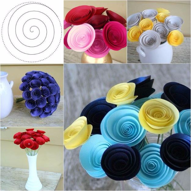 DIY Paper Flowers - DIY Easy Swirly Paper Flower - How To Make A Paper Flower - Large Wedding Backdrop for Wall Decor - Easy Tissue Paper Flower Tutorial for Kids - Giant Projects for Photo Backdrops - Daisy, Roses, Bouquets, Centerpieces - Cricut Template and Step by Step Tutorial http://diyjoy.com/diy-paper-flowers