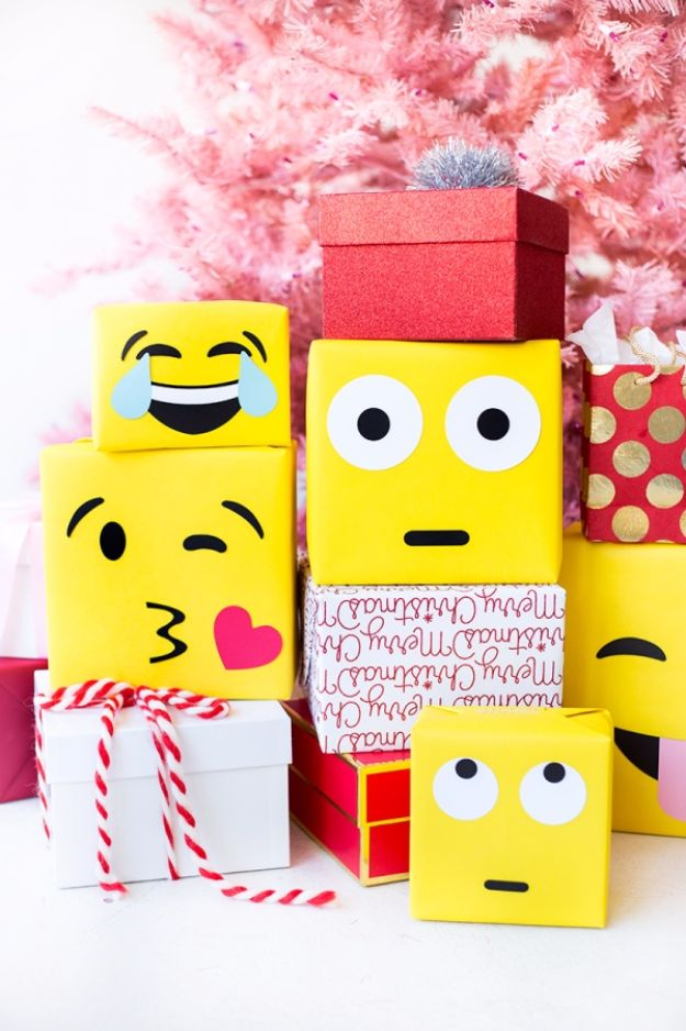 Cool Gift Wrapping Ideas - DIY Emoji Gift Wrap - Creative Ways To Wrap Presents on A Budget - Best Christmas Gift Wrap Ideas - How To Make Gift Bags, Reuse Wrapping Paper, Make Bows and Tags - Cute and Easy Ideas for Wrapping Gifts for the Holidays - Step by Step Instructions and Photo Tutorials http://diyjoy.com/gift-wrapping-tutorials