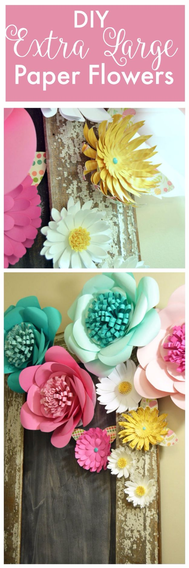 DIY Paper Flowers - DIY Extra Large Paper Flowers - How To Make A Paper Flower - Large Wedding Backdrop for Wall Decor - Easy Tissue Paper Flower Tutorial for Kids - Giant Projects for Photo Backdrops - Daisy, Roses, Bouquets, Centerpieces - Cricut Template and Step by Step Tutorial http://diyjoy.com/diy-paper-flowers