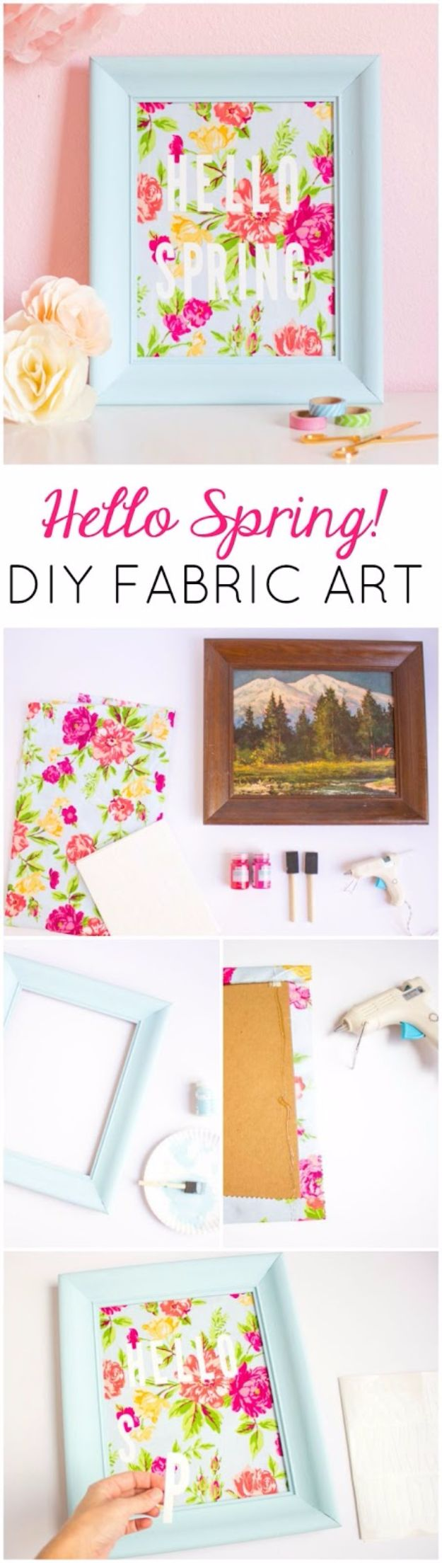 DIY Ideas With Old Picture Frames - DIY Fabric Art - Cool Crafts To Make With A Repurposed Picture Frame - Cheap Do It Yourself Gifts and Home Decor on A Budget - Fun Ideas for Decorating Your House and Room http://diyjoy.com/diy-ideas-picture-frames