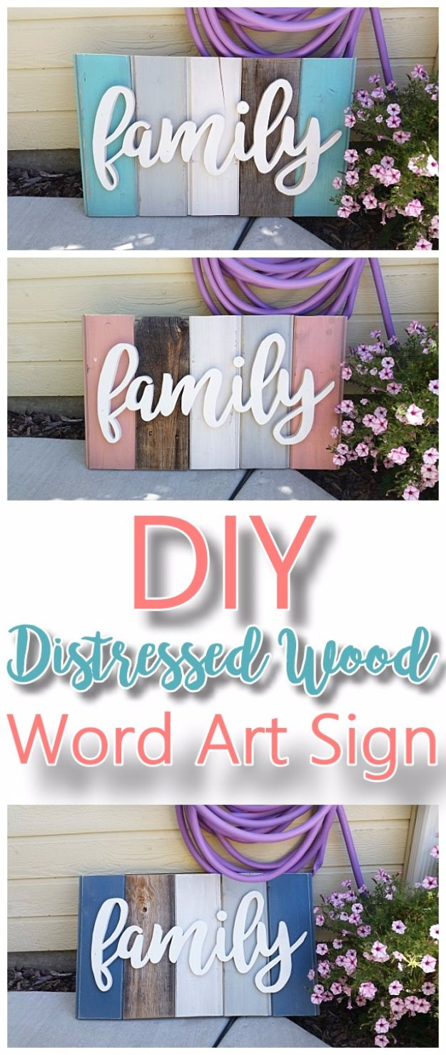 Cool Gifts to Make For Mom - DIY Family Word Art - DIY Gift Ideas and Christmas Presents for Your Mother, Mother-In-Law, Grandma, Stepmom - Creative , Holiday Crafts and Cheap DIY Gifts for The Holidays - Thoughtful Homemade Spa Day Gifts, Creative Wall Art, Special Ideas for Her - Easy Xmas Gifts to Make With Step by Step Tutorials and Instructions #diygifts #mom