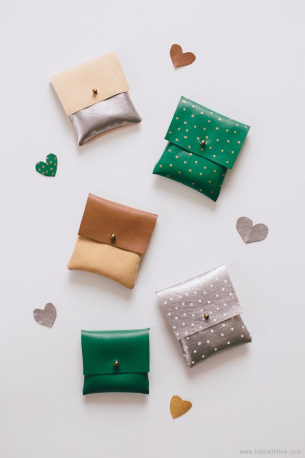 Cool Gifts to Make For Mom - DIY Faux Leather Pouches - DIY Gift Ideas and Christmas Presents for Your Mother, Mother-In-Law, Grandma, Stepmom - Creative , Holiday Crafts and Cheap DIY Gifts for The Holidays - Thoughtful Homemade Spa Day Gifts, Creative Wall Art, Special Ideas for Her - Easy Xmas Gifts to Make With Step by Step Tutorials and Instructions #diygifts #mom