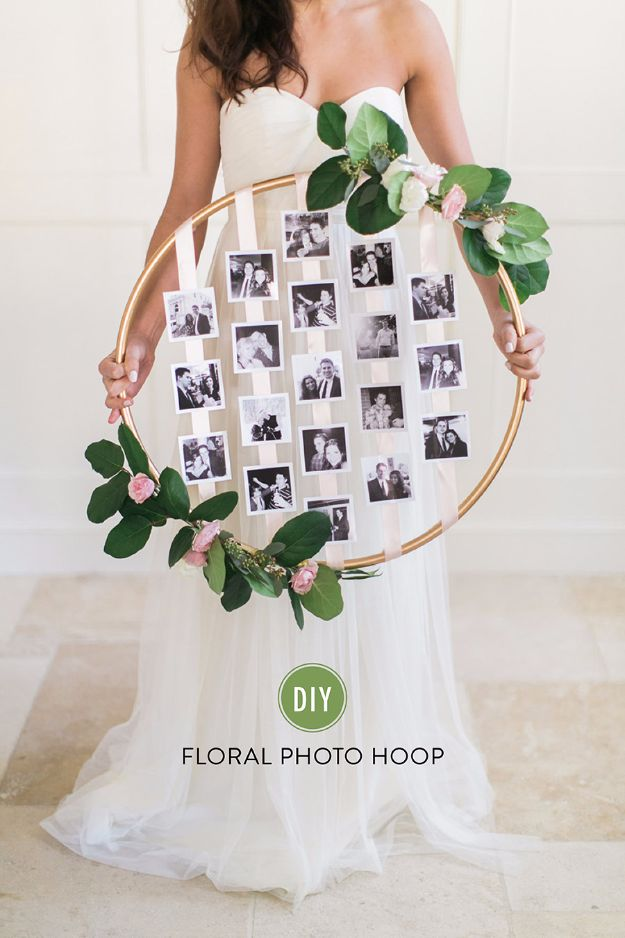 DIY Wedding Decor - DIY Floral Photo Hoop - Easy and Cheap Project Ideas with Things Found in Dollar Stores - Simple and Creative Backdrops for Receptions On A Budget - Rustic, Elegant, and Vintage Paper Ideas for Centerpieces, and Vases