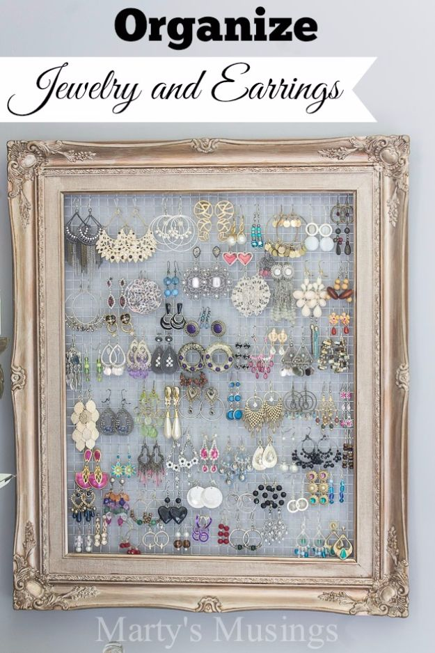 DIY Ideas With Old Picture Frames - DIY Framed Jewelry And Earrings Organizer - Cool Crafts To Make With A Repurposed Picture Frame - Cheap Do It Yourself Gifts and Home Decor on A Budget - Fun Ideas for Decorating Your House and Room http://diyjoy.com/diy-ideas-picture-frames