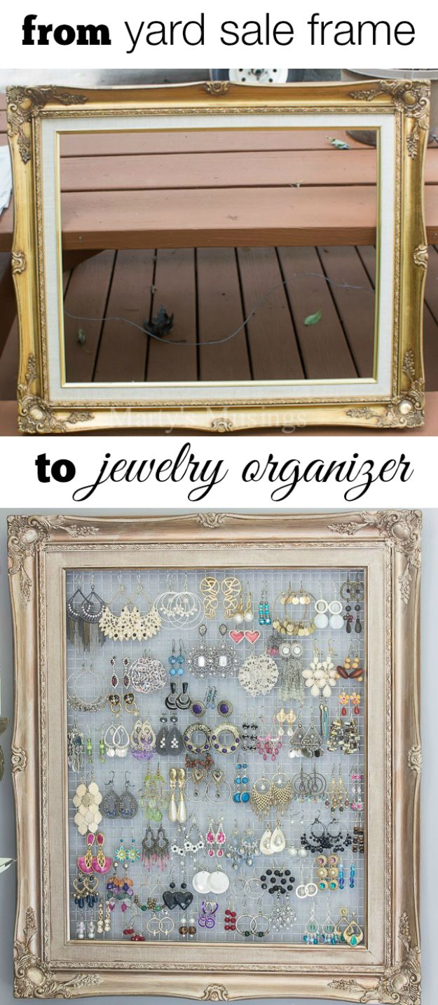 DIY Jewelry Ideas - DIY Framed Jewelry Storage - How To Make the Coolest Jewelry Ideas For Kids and Teens - Homemade Wooden and Plastic Jewelry Box Plans - Easy Cardboard Gift Ideas - Cheap Wall Makeover and Organizer Projects With Drawers Men http://diyjoy.com/diy-jewelry-boxes-storage