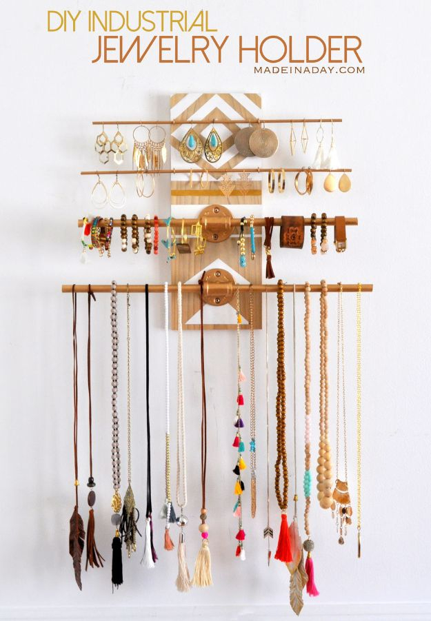 DIY Jewelry Ideas - DIY Geometric Industrial Jewelry Holder - How To Make the Coolest Jewelry Ideas For Kids and Teens - Homemade Wooden and Plastic Jewelry Box Plans - Easy Cardboard Gift Ideas - Cheap Wall Makeover and Organizer Projects With Drawers Men http://diyjoy.com/diy-jewelry-boxes-storage
