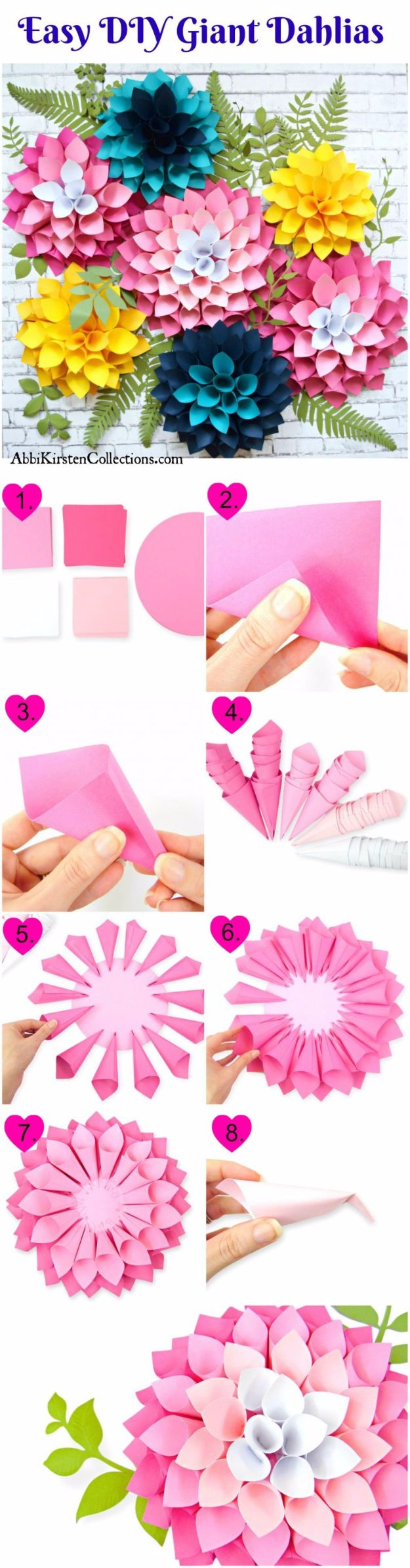 DIY Paper Flowers - DIY Giant Dahlia Paper Flowers - How To Make A Paper Flower - Large Wedding Backdrop for Wall Decor - Easy Tissue Paper Flower Tutorial for Kids - Giant Projects for Photo Backdrops - Daisy, Roses, Bouquets, Centerpieces - Cricut Template and Step by Step Tutorial