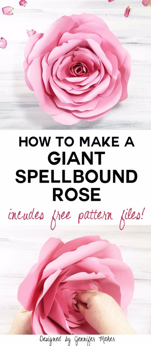 DIY Paper Flowers - DIY Giant Rose - How To Make A Paper Flower - Large Wedding Backdrop for Wall Decor - Easy Tissue Paper Flower Tutorial for Kids - Giant Projects for Photo Backdrops - Daisy, Roses, Bouquets, Centerpieces - Cricut Template and Step by Step Tutorial